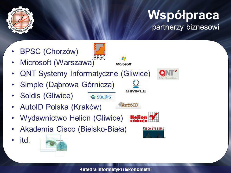 Katedra Informatyki i Ekonometrii Współpraca partnerzy biznesowi BPSC (Chorzów) Microsoft (Warszawa) QNT Systemy Informatyczne (Gliwice) Simple (Dąbrowa Górnicza) Soldis (Gliwice) AutoID Polska (Kraków) Wydawnictwo Helion (Gliwice) Akademia Cisco (Bielsko-Biała) itd.