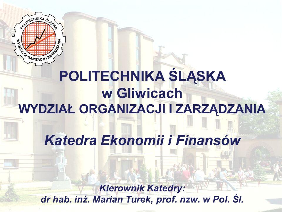 Katedra Ekonomii i Finansów Zakłady funkcjonujące w ramach Katedry oraz ich władze Zakład Finansów i Rachunkowości Kierownik: dr hab.