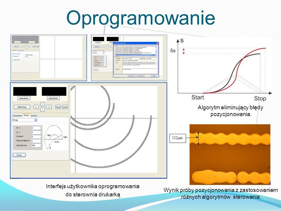 Oprogramowanie Interfejs użytkownika oprogramowania do sterownia drukarką Algorytm eliminujący błędy pozycjonowania. Wynik próby pozycjonowania z zast