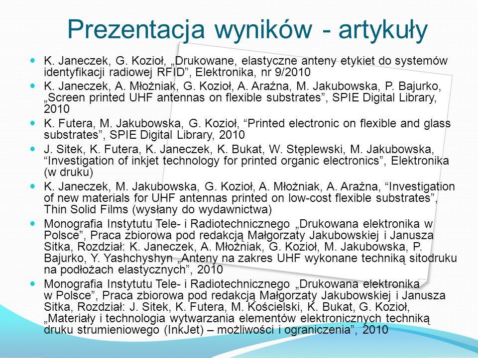 K. Janeczek, G. Kozioł, Drukowane, elastyczne anteny etykiet do systemów identyfikacji radiowej RFID, Elektronika, nr 9/2010 K. Janeczek, A. Młożniak,