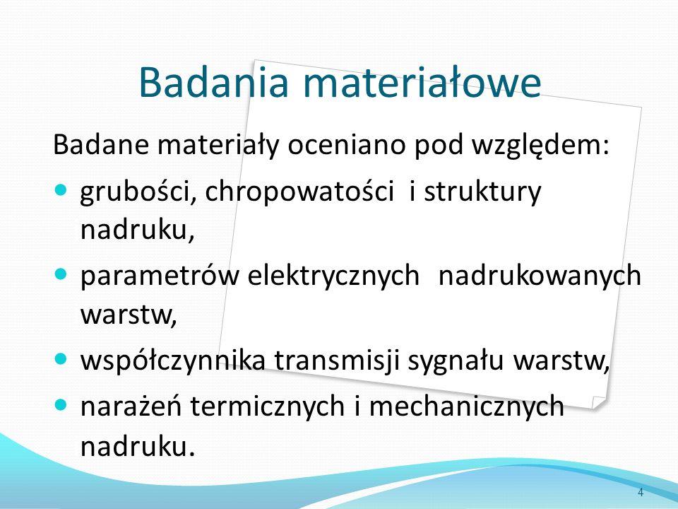 Badania materiałowe Badane materiały oceniano pod względem: grubości, chropowatości i struktury inadruku, parametrów elektrycznych nadrukowanych iwars