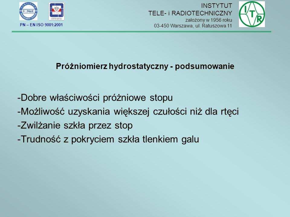 Próżniomierz hydrostatyczny - podsumowanie -Dobre właściwości próżniowe stopu -Możliwość uzyskania większej czułości niż dla rtęci -Zwilżanie szkła przez stop -Trudność z pokryciem szkła tlenkiem galu INSTYTUT TELE- i RADIOTECHNICZNY założony w 1956 roku 03-450 Warszawa, ul.