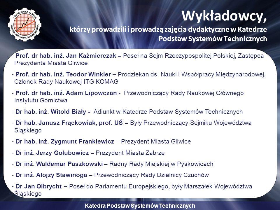 Katedra Podstaw Systemów Technicznych Wykładowcy, którzy prowadzili i prowadzą zajęcia dydaktyczne w Katedrze Podstaw Systemów Technicznych - Prof.