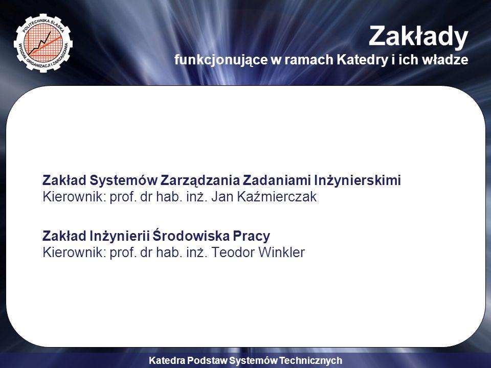 Katedra Podstaw Systemów Technicznych Specjalności i przykładowe przedmioty Zarządzanie w Sektorze Publicznym (ZwSP) –Systemy GIS w działaniach sektora publicznego –Ochrona środowiska w przedsięwzięciach lokalnych –Gospodarka komunalna –Struktury zarządzania w administracji publicznej –Wdrażanie systemów wspomagania –Gromadzenie i organizacja zbiorów danych –Analiza strukturalna w zarządzaniu