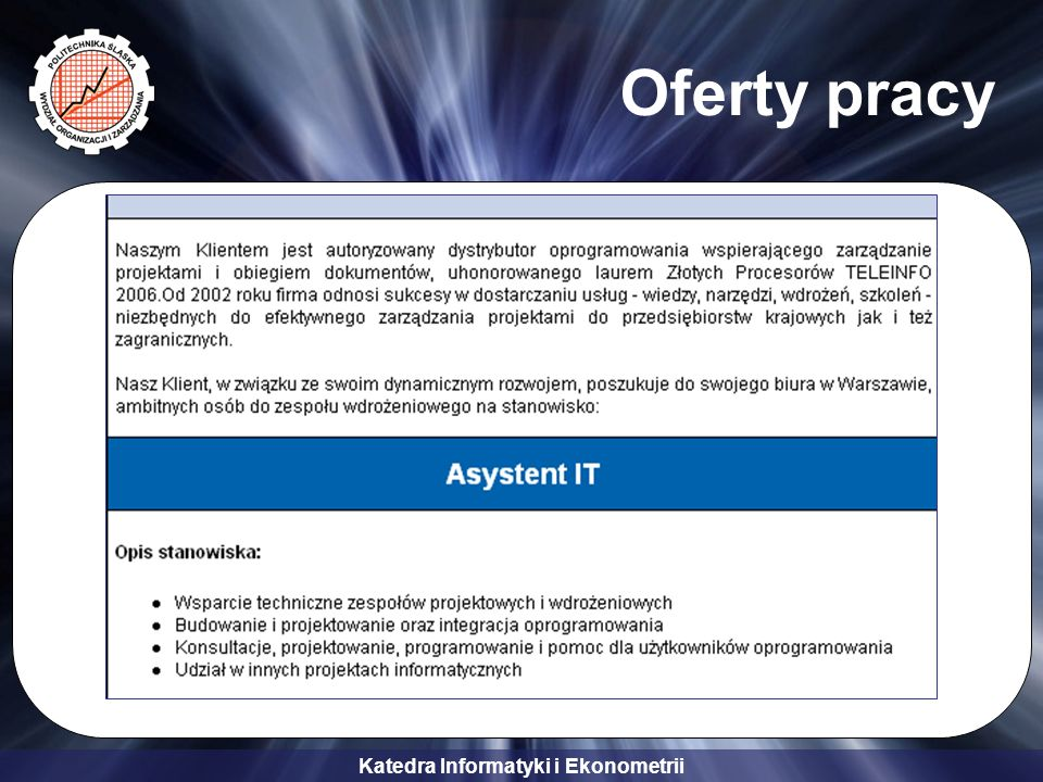 Katedra Informatyki i Ekonometrii Oferty pracy