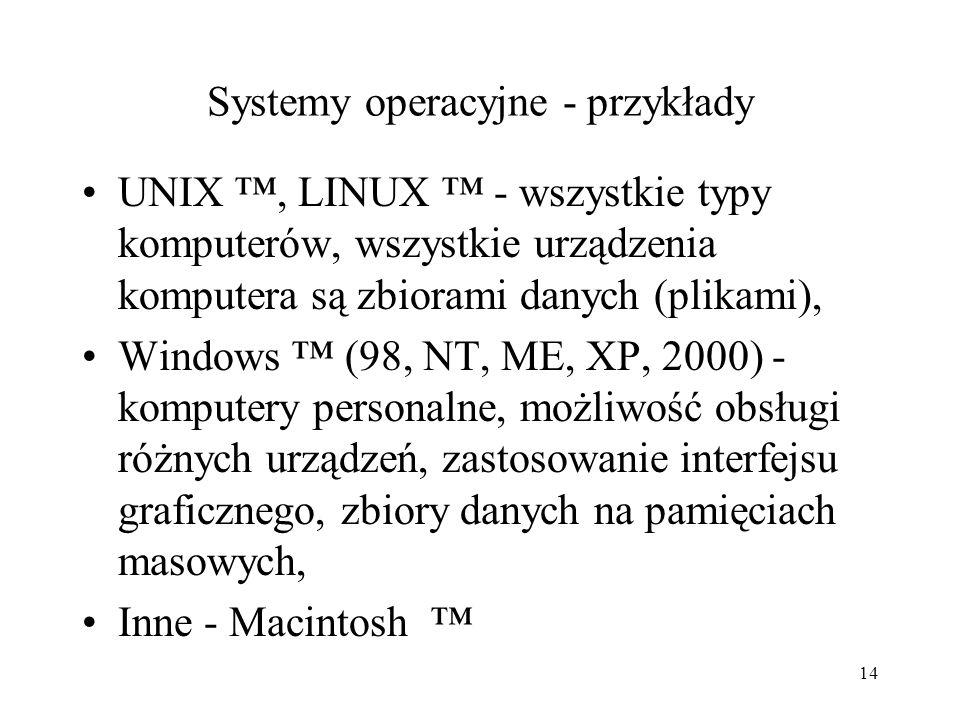 13 Oprogramowanie - systemy operacyjne Funkcje systemu operacyjnego: Zapisywanie - odczytywanie danych na pamięciach masowych, Uruchamianie aplikacji