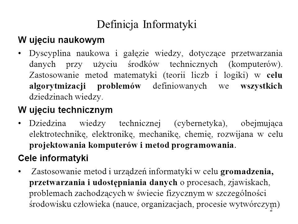 2 Definicja Informatyki W ujęciu naukowym Dyscyplina naukowa i gałęzie wiedzy, dotyczące przetwarzania danych przy użyciu środków technicznych (komputerów).