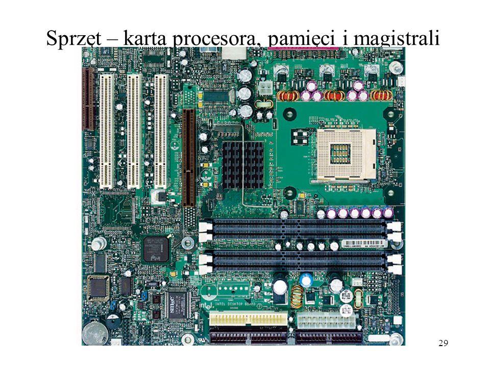 28 Sprzęt komputera personalnego (przegląd) Procesor i pamięć główna Karta procesora, pamięci i magistrali do urządzeń masowych i interfejsowych Urząd