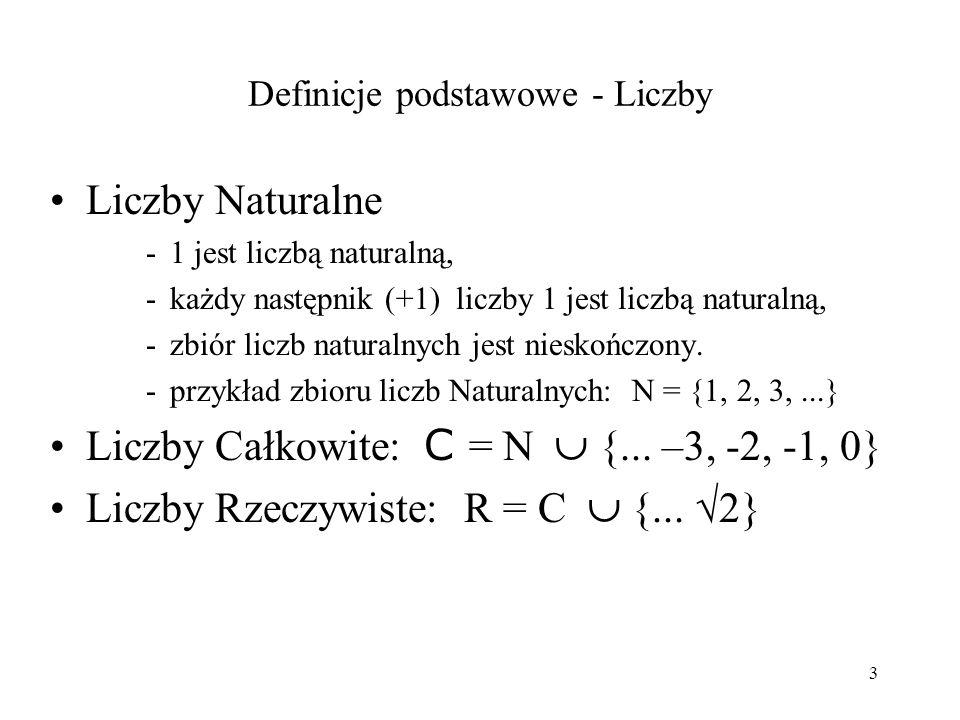 3 Definicje podstawowe - Liczby Liczby Naturalne -1 jest liczbą naturalną, -każdy następnik (+1) liczby 1 jest liczbą naturalną, -zbiór liczb naturalnych jest nieskończony.