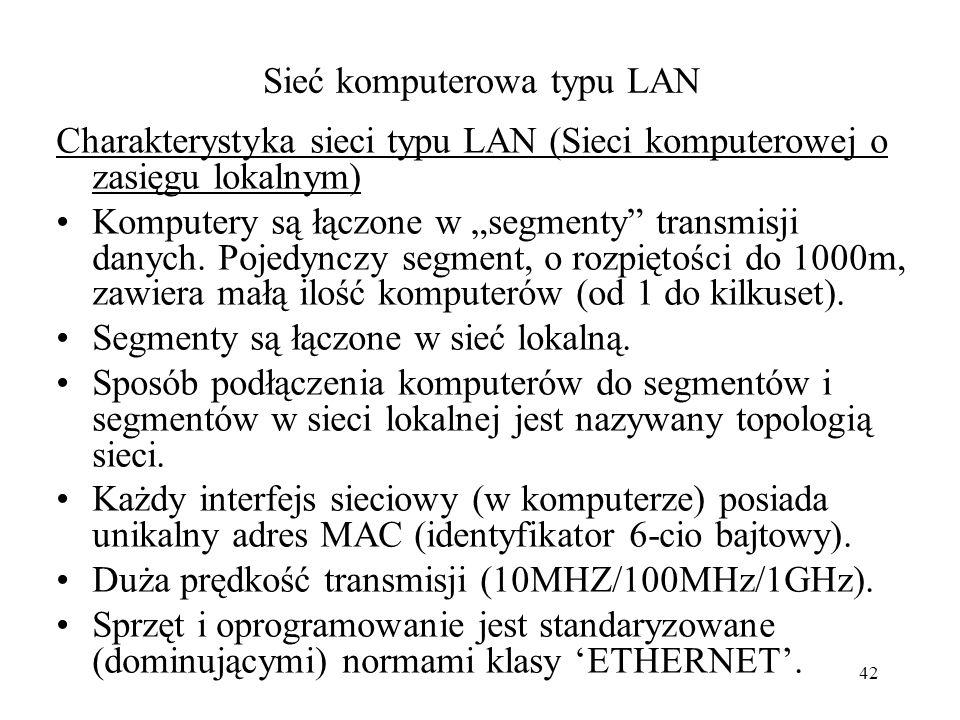 41 Sieć komputerów Sprzęt transmisji danych : - interfejs (karta) sieciowa, - okablowanie do transmisji danych między interfejsami sieciowymi, -urządz