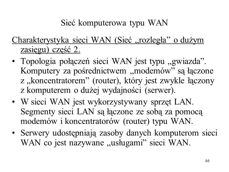 45 Sieć komputerowa typu WAN Charakterystyka sieci WAN (Sieć rozległa o dużym zasięgu) część 1. Komputery połączone sprzętem zapewniającym transmisję