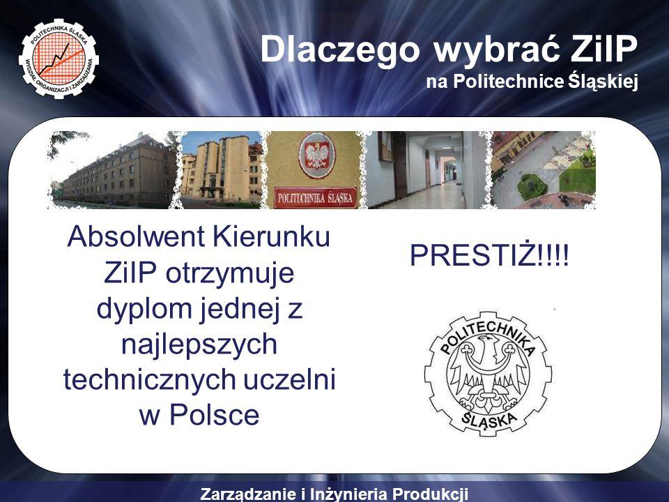Zarządzanie i Inżynieria Produkcji Dlaczego wybrać ZiIP na Politechnice Śląskiej Absolwent Kierunku ZiIP otrzymuje dyplom jednej z najlepszych technic