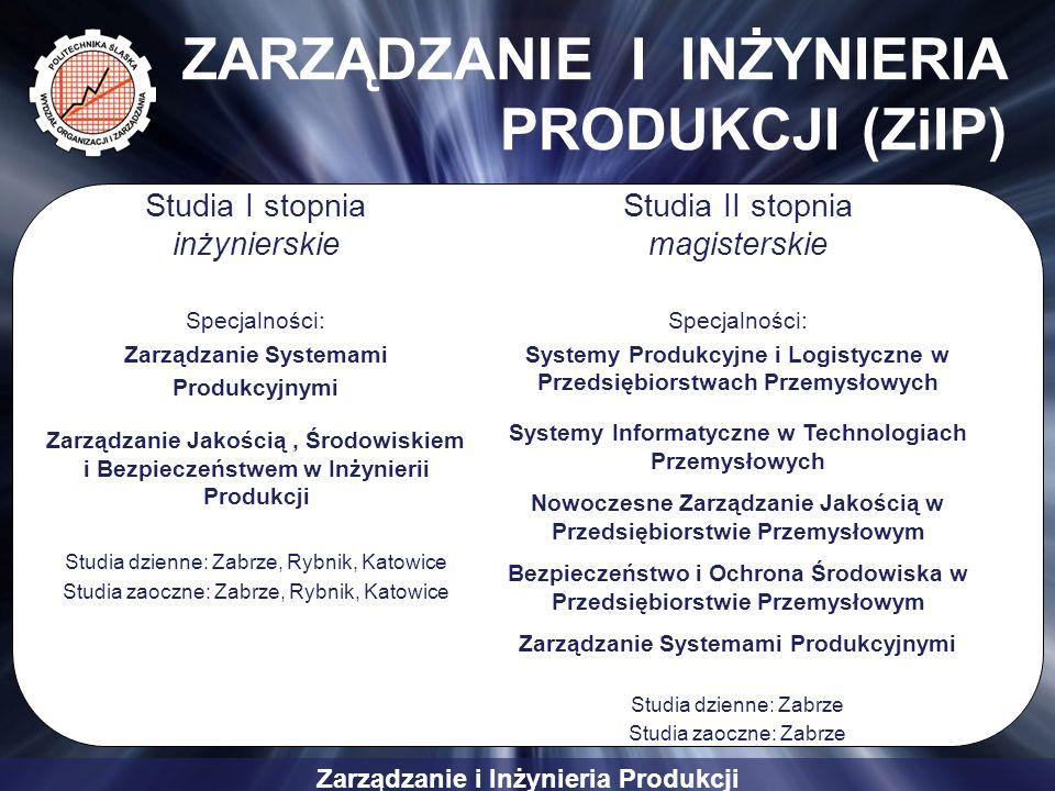 Zarządzanie i Inżynieria Produkcji ZARZĄDZANIE I INŻYNIERIA PRODUKCJI (ZiIP) Studia I stopnia inżynierskie Specjalności: Zarządzanie Systemami Produkc