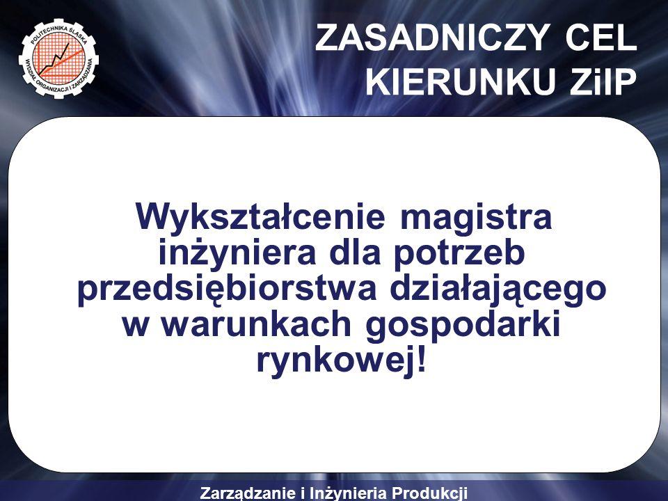 Zarządzanie i Inżynieria Produkcji ZASADNICZY CEL KIERUNKU ZiIP Wykształcenie magistra inżyniera dla potrzeb przedsiębiorstwa działającego w warunkach