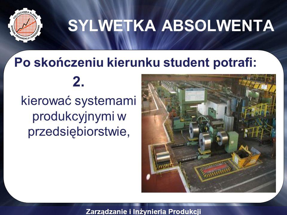 Zarządzanie i Inżynieria Produkcji SYLWETKA ABSOLWENTA 2. kierować systemami produkcyjnymi w przedsiębiorstwie, Po skończeniu kierunku student potrafi