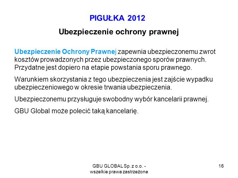 GBU GLOBAL Sp. z o.o. - wszelkie prawa zastrzeżone 16 PIGUŁKA 2012 Ubezpieczenie ochrony prawnej Ubezpieczenie Ochrony Prawnej zapewnia ubezpieczonemu