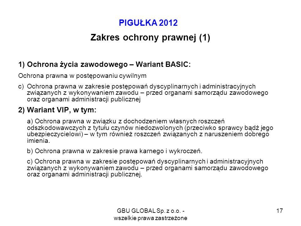 GBU GLOBAL Sp. z o.o. - wszelkie prawa zastrzeżone 17 PIGUŁKA 2012 Zakres ochrony prawnej (1) 1) Ochrona życia zawodowego – Wariant BASIC: Ochrona pra