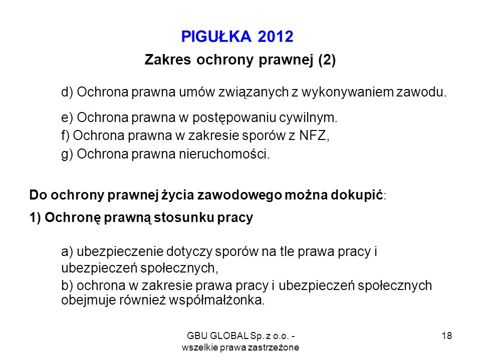 GBU GLOBAL Sp. z o.o. - wszelkie prawa zastrzeżone 18 PIGUŁKA 2012 Zakres ochrony prawnej (2) d) Ochrona prawna umów związanych z wykonywaniem zawodu.