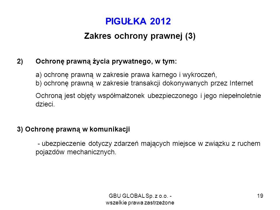 GBU GLOBAL Sp. z o.o. - wszelkie prawa zastrzeżone 19 PIGUŁKA 2012 Zakres ochrony prawnej (3) 2)Ochronę prawną życia prywatnego, w tym: a) ochronę pra