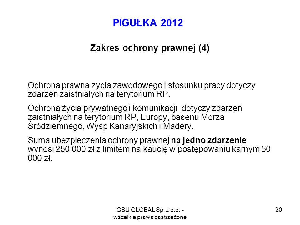 GBU GLOBAL Sp. z o.o. - wszelkie prawa zastrzeżone 20 PIGUŁKA 2012 Zakres ochrony prawnej (4) Ochrona prawna życia zawodowego i stosunku pracy dotyczy