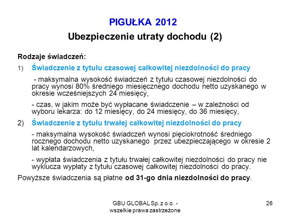 GBU GLOBAL Sp. z o.o. - wszelkie prawa zastrzeżone 26 PIGUŁKA 2012 Ubezpieczenie utraty dochodu (2) Rodzaje świadczeń: 1) Świadczenie z tytułu czasowe
