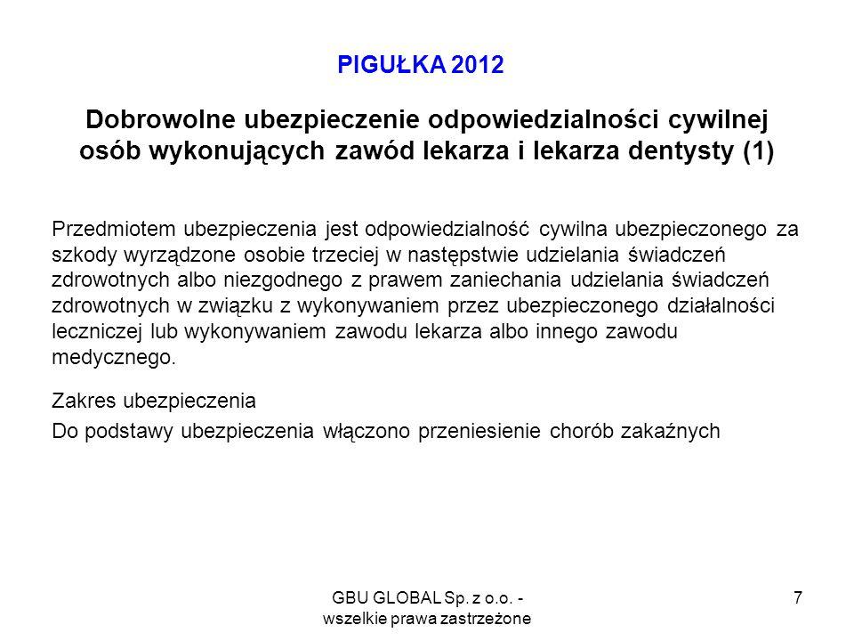 GBU GLOBAL Sp. z o.o. - wszelkie prawa zastrzeżone 7 PIGUŁKA 2012 Dobrowolne ubezpieczenie odpowiedzialności cywilnej osób wykonujących zawód lekarza