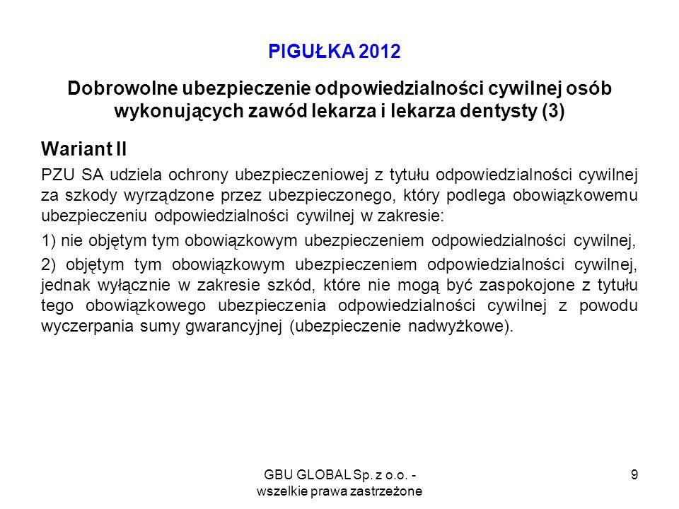 GBU GLOBAL Sp. z o.o. - wszelkie prawa zastrzeżone 9 PIGUŁKA 2012 Dobrowolne ubezpieczenie odpowiedzialności cywilnej osób wykonujących zawód lekarza