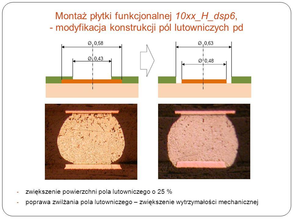 Montaż płytki funkcjonalnej 10xx_H_dsp6, - modyfikacja konstrukcji pól lutowniczych pd - zwiększenie powierzchni pola lutowniczego o 25 % - poprawa zw
