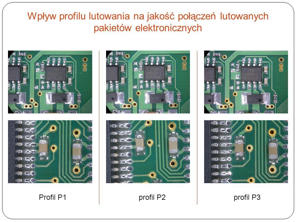 Wpływ profilu lutowania na jakość połączeń lutowanych pakietów elektronicznych Profil P1 profil P2 profil P3