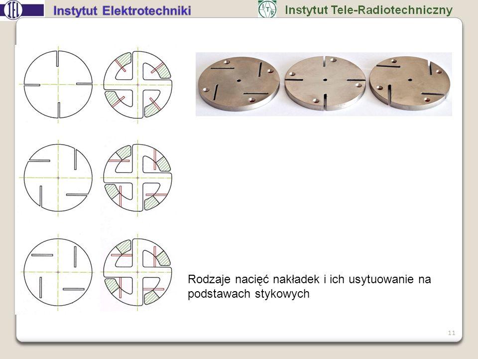 11 Rodzaje nacięć nakładek i ich usytuowanie na podstawach stykowych