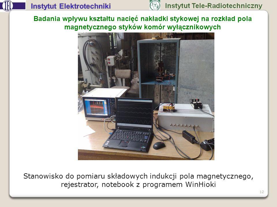 Stanowisko do pomiaru składowych indukcji pola magnetycznego, rejestrator, notebook z programem WinHioki 12 Badania wpływu kształtu nacięć nakładki st