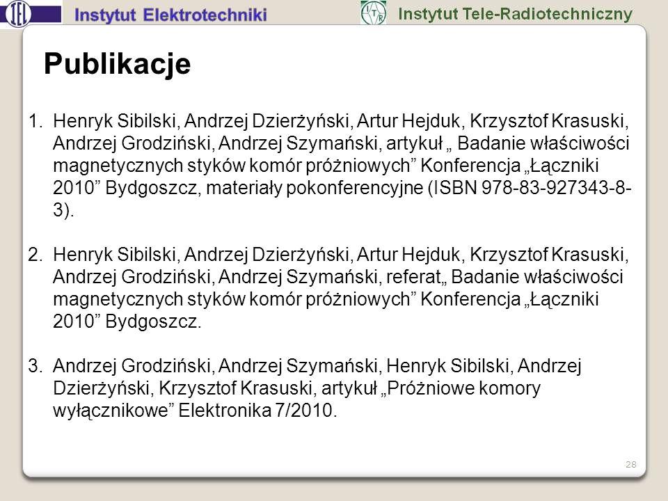 28 Publikacje 1.Henryk Sibilski, Andrzej Dzierżyński, Artur Hejduk, Krzysztof Krasuski, Andrzej Grodziński, Andrzej Szymański, artykuł Badanie właściw