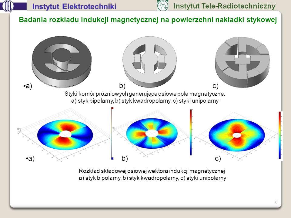 7 Następnym kryterium wyboru rodzaju styków dla komór wyłącznikowych jest wartość indukcji pola magnetycznego oraz jej rozkład na powierzchni nakładek stykowych podczas przepływu prądu probierczego.