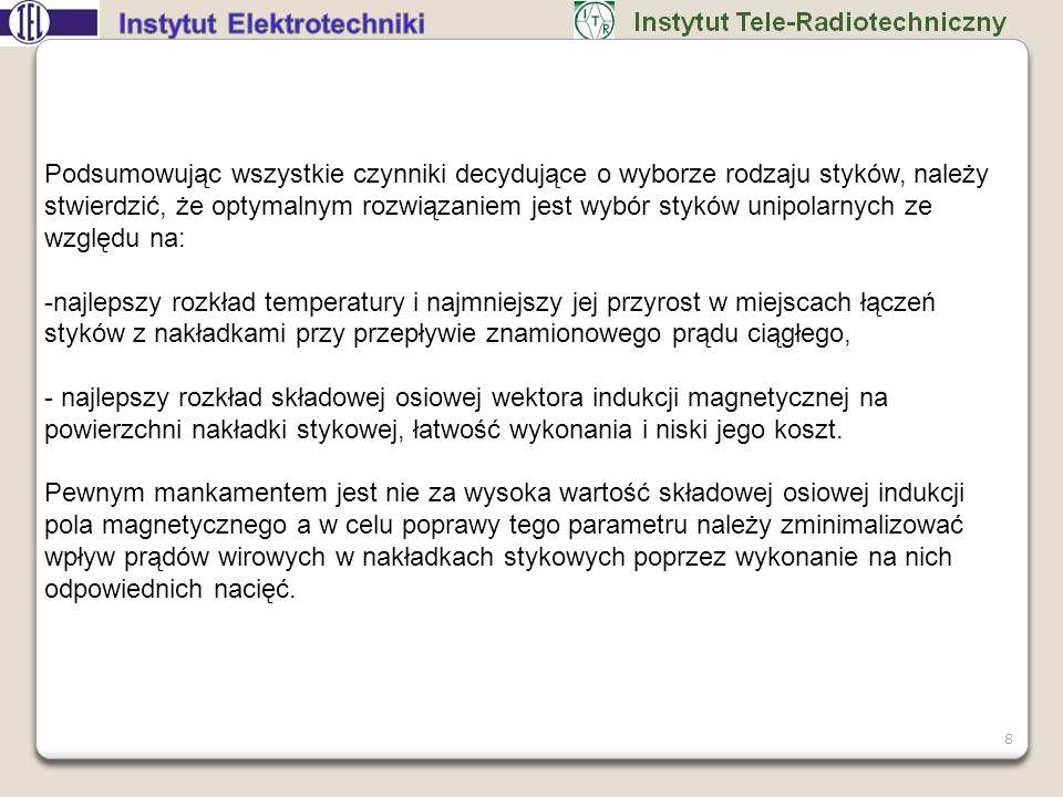 19 Rozkład składowej osiowej indukcji magnetycznej, styki unipolarne z nacięciami promieniowymi