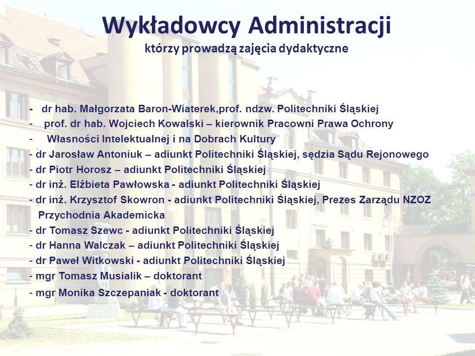 Wykładowcy Administracji którzy prowadzą zajęcia dydaktyczne - dr hab. Małgorzata Baron-Wiaterek,prof. ndzw. Politechniki Śląskiej -prof. dr hab. Wojc