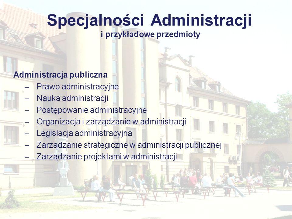 Specjalności Administracji i przykładowe przedmioty Administracja publiczna –Prawo administracyjne –Nauka administracji –Postępowanie administracyjne