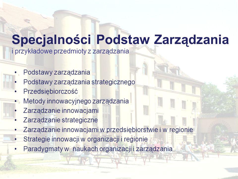 Podstawy zarządzania Podstawy zarządzania strategicznego Przedsiębiorczość Metody innowacyjnego zarządzania Zarządzanie innowacjami Zarządzanie strate