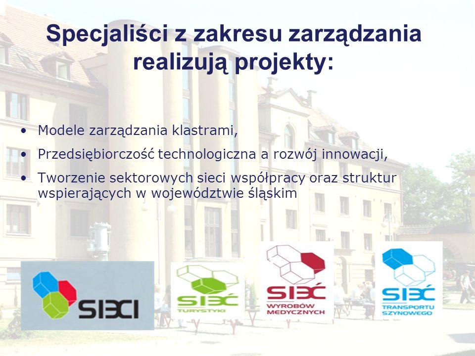 Specjaliści z zakresu zarządzania realizują projekty: Modele zarządzania klastrami, Przedsiębiorczość technologiczna a rozwój innowacji, Tworzenie sek