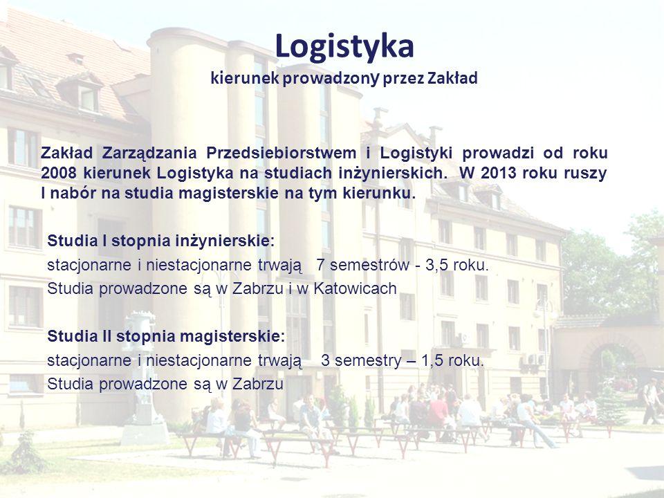 Logistyka kierunek prowadzon y przez Zakład Specjalności na kierunku Logistyka na studiach I stopnia (stacjonarnych i niestacjonarnych) - Zarządzanie Łańcuchem Dostaw - Logistyka Przedsiębiorstw Przemysłowych Specjalności na kierunku Logistyka na studiach II stopnia (stacjonarnych i niestacjonarnych) - Menedżer Logistyki - Usługi Logistyczne