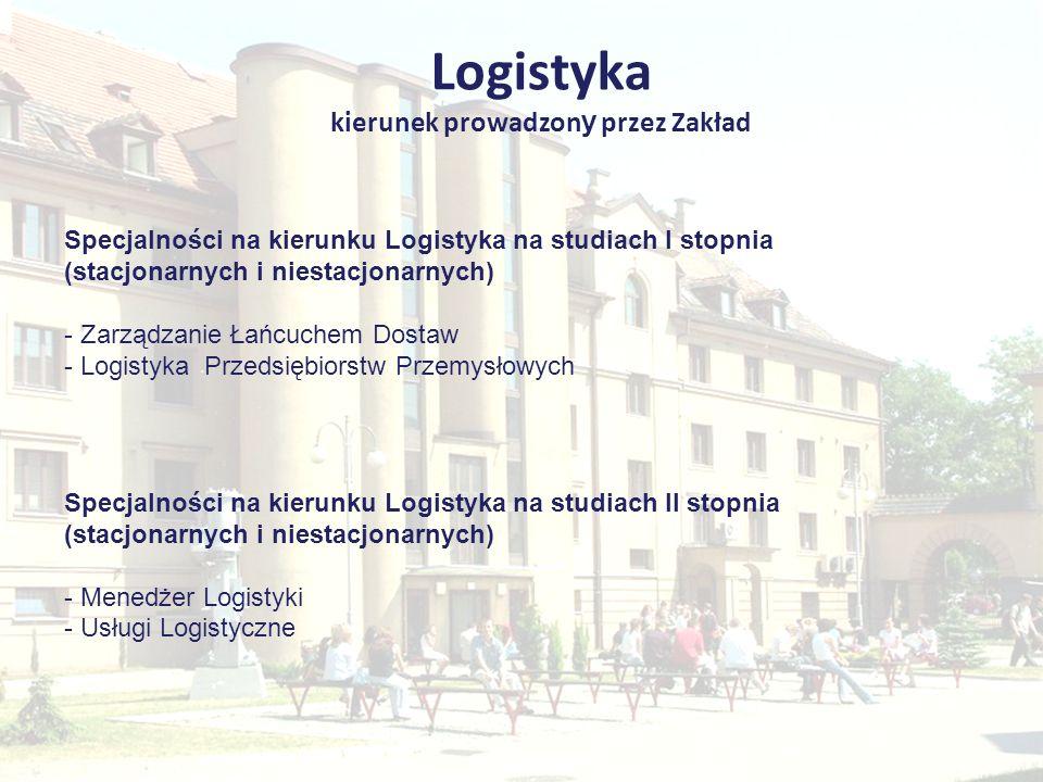 Logistyka kierunek prowadzon y przez Zakład Specjalności na kierunku Logistyka na studiach I stopnia (stacjonarnych i niestacjonarnych) - Zarządzanie