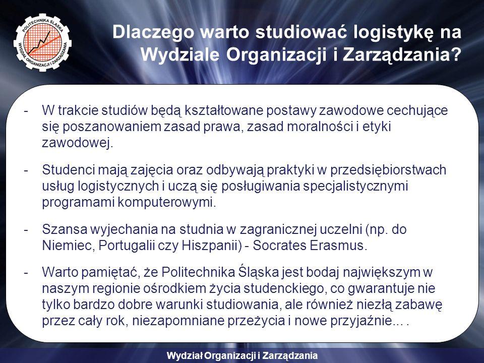 Wydział Organizacji i Zarządzania Dlaczego warto studiować logistykę na Wydziale Organizacji i Zarządzania.