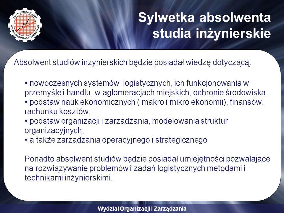 Wydział Organizacji i Zarządzania Sylwetka absolwenta studia inżynierskie Absolwent studiów inżynierskich będzie posiadał wiedzę dotyczącą: nowoczesnych systemów logistycznych, ich funkcjonowania w przemyśle i handlu, w aglomeracjach miejskich, ochronie środowiska, podstaw nauk ekonomicznych ( makro i mikro ekonomii), finansów, rachunku kosztów, podstaw organizacji i zarządzania, modelowania struktur organizacyjnych, a także zarządzania operacyjnego i strategicznego Ponadto absolwent studiów będzie posiadał umiejętności pozwalające na rozwiązywanie problemów i zadań logistycznych metodami i technikami inżynierskimi.