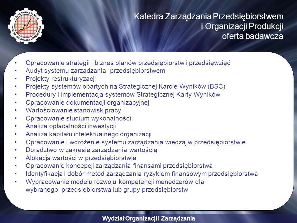 Wydział Organizacji i Zarządzania Katedra Zarządzania Przedsiębiorstwem i Organizacji Produkcji oferta badawcza Opracowanie strategii i biznes planów przedsiębiorstw i przedsięwzięć Audyt systemu zarządzania przedsiębiorstwem Projekty restrukturyzacji Projekty systemów opartych na Strategicznej Karcie Wyników (BSC) Procedury i implementacja systemów Strategicznej Karty Wyników Opracowanie dokumentacji organizacyjnej Wartościowanie stanowisk pracy Opracowanie studium wykonalności Analiza opłacalności inwestycji Analiza kapitału intelektualnego organizacji Opracowanie i wdrożenie systemu zarządzania wiedzą w przedsiębiorstwie Doradztwo w zakresie zarządzania wartością Alokacja wartości w przedsiębiorstwie Opracowanie koncepcji zarządzania finansami przedsiębiorstwa Identyfikacja i dobór metod zarządzania ryzykiem finansowym przedsiębiorstwa Wypracowanie modelu rozwoju kompetencji menedżerów dla wybranego przedsiębiorstwa lub grupy przedsiębiorstw
