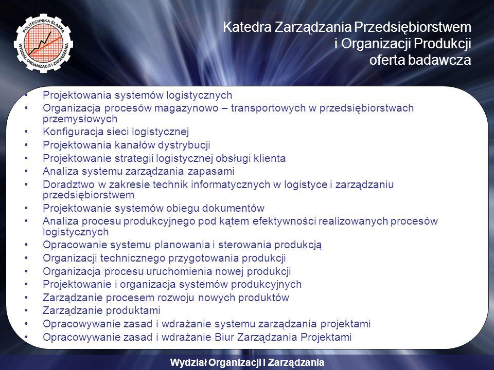 Wydział Organizacji i Zarządzania Katedra Zarządzania Przedsiębiorstwem i Organizacji Produkcji oferta badawcza Projektowania systemów logistycznych Organizacja procesów magazynowo – transportowych w przedsiębiorstwach przemysłowych Konfiguracja sieci logistycznej Projektowania kanałów dystrybucji Projektowanie strategii logistycznej obsługi klienta Analiza systemu zarządzania zapasami Doradztwo w zakresie technik informatycznych w logistyce i zarządzaniu przedsiębiorstwem Projektowanie systemów obiegu dokumentów Analiza procesu produkcyjnego pod kątem efektywności realizowanych procesów logistycznych Opracowanie systemu planowania i sterowania produkcją Organizacji technicznego przygotowania produkcji Organizacja procesu uruchomienia nowej produkcji Projektowanie i organizacja systemów produkcyjnych Zarządzanie procesem rozwoju nowych produktów Zarządzanie produktami Opracowywanie zasad i wdrażanie systemu zarządzania projektami Opracowywanie zasad i wdrażanie Biur Zarządzania Projektami