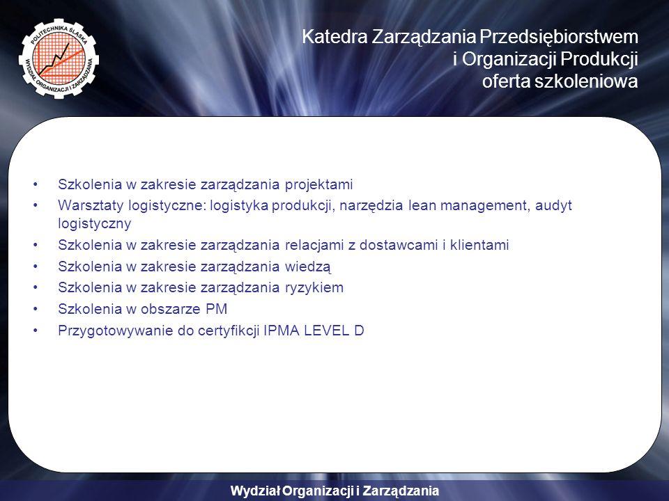 Wydział Organizacji i Zarządzania Katedra Zarządzania Przedsiębiorstwem i Organizacji Produkcji oferta szkoleniowa Szkolenia w zakresie zarządzania projektami Warsztaty logistyczne: logistyka produkcji, narzędzia lean management, audyt logistyczny Szkolenia w zakresie zarządzania relacjami z dostawcami i klientami Szkolenia w zakresie zarządzania wiedzą Szkolenia w zakresie zarządzania ryzykiem Szkolenia w obszarze PM Przygotowywanie do certyfikcji IPMA LEVEL D