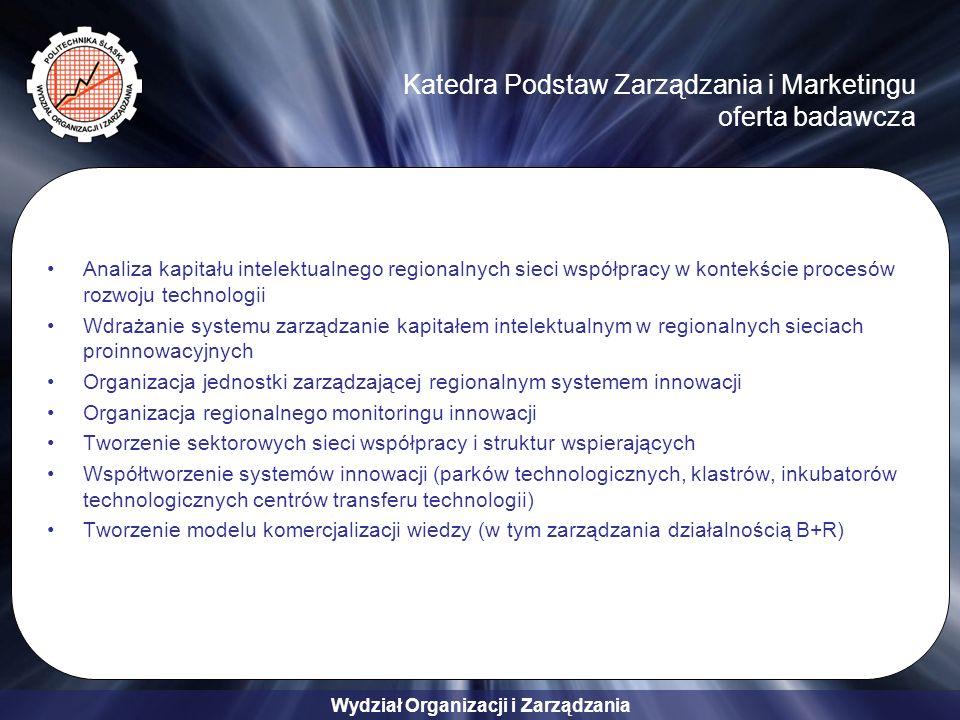 Wydział Organizacji i Zarządzania Katedra Podstaw Zarządzania i Marketingu oferta badawcza Analiza kapitału intelektualnego regionalnych sieci współpracy w kontekście procesów rozwoju technologii Wdrażanie systemu zarządzanie kapitałem intelektualnym w regionalnych sieciach proinnowacyjnych Organizacja jednostki zarządzającej regionalnym systemem innowacji Organizacja regionalnego monitoringu innowacji Tworzenie sektorowych sieci współpracy i struktur wspierających Współtworzenie systemów innowacji (parków technologicznych, klastrów, inkubatorów technologicznych centrów transferu technologii) Tworzenie modelu komercjalizacji wiedzy (w tym zarządzania działalnością B+R)