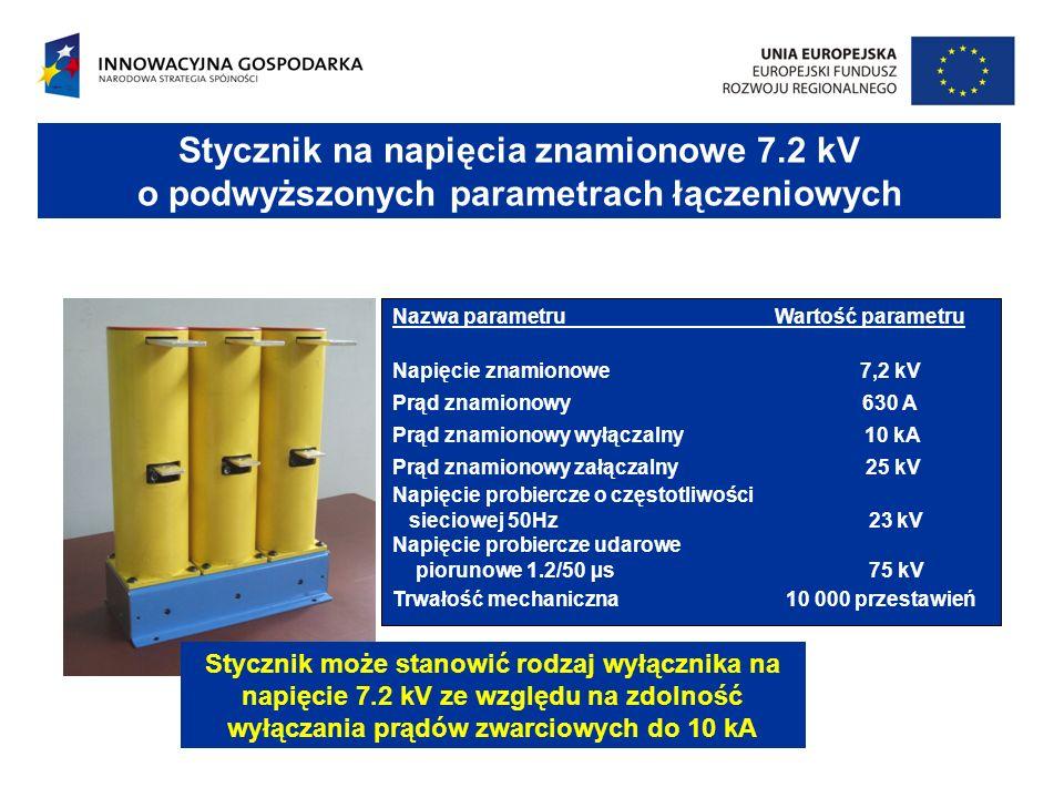 PODSTAWOWE CECHY PROJEKTOWANYCH WYŁĄCZNIKÓW NA NAPIĘCIE 7,2 kV Specjalny rodzaj napędu Specjalnie skonstruowane próżniowe komory gaszeniowe Napęd elektromagnesowy ze sprężyną otwierającą, wspólny dla wszystkich trzech biegunów wyłącznika; energia napędu przekazywana przez wałek napędowy i zespół sprężyn dociskających styki w komorze próżniowej tłumiących drgania styków i wspomagających otwieranie komór podczas wyłączania.