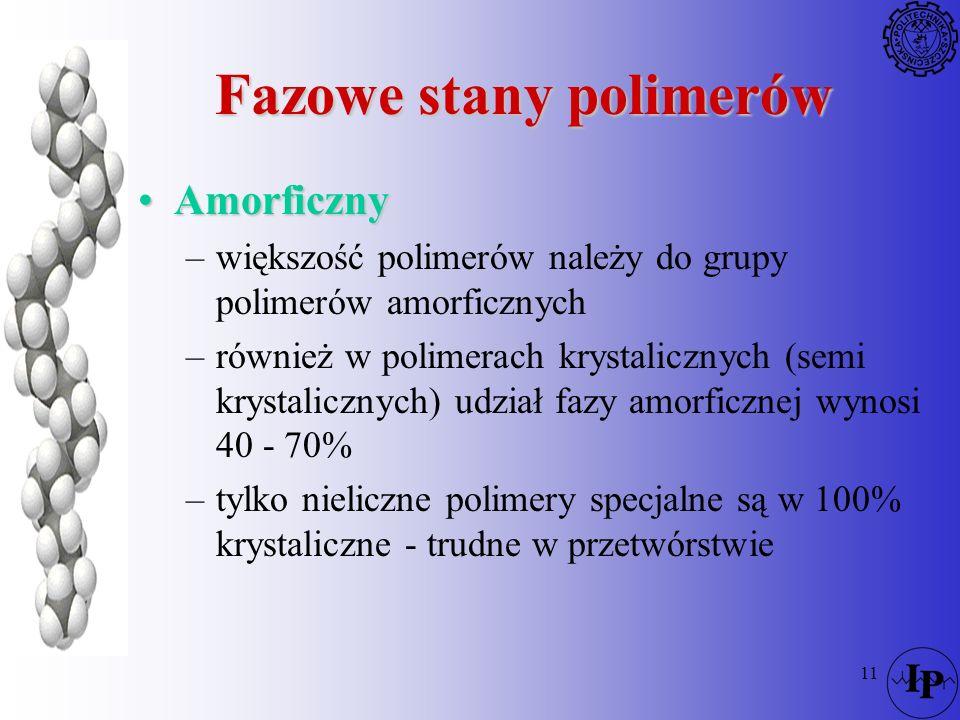 11 Fazowe stany polimerów AmorficznyAmorficzny –większość polimerów należy do grupy polimerów amorficznych –również w polimerach krystalicznych (semi