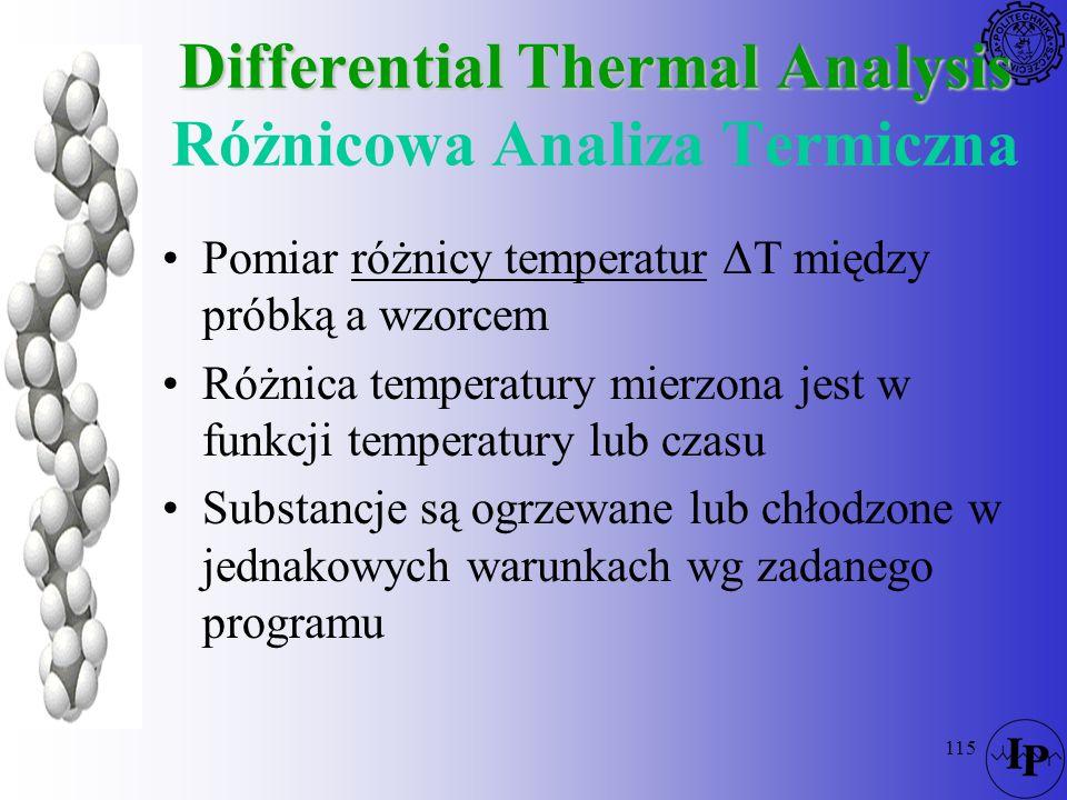 115 Differential Thermal Analysis Differential Thermal Analysis Różnicowa Analiza Termiczna Pomiar różnicy temperatur ΔT między próbką a wzorcem Różni