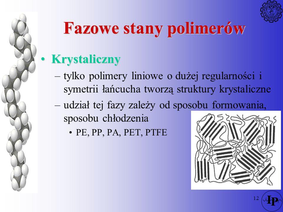 12 Fazowe stany polimerów KrystalicznyKrystaliczny –tylko polimery liniowe o dużej regularności i symetrii łańcucha tworzą struktury krystaliczne –udz